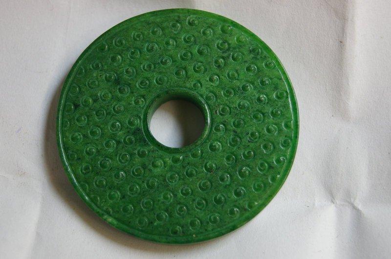 Retro green jade pendant.Waist pendant.(Jade bi)