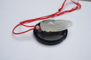 Natural white jade pendant.Hand-carved.Ice kinds of white jade cicadas. Pendant necklace.
