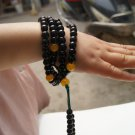 Tibetan Buddhism beads of black agate 108 beads. String beads bracelet