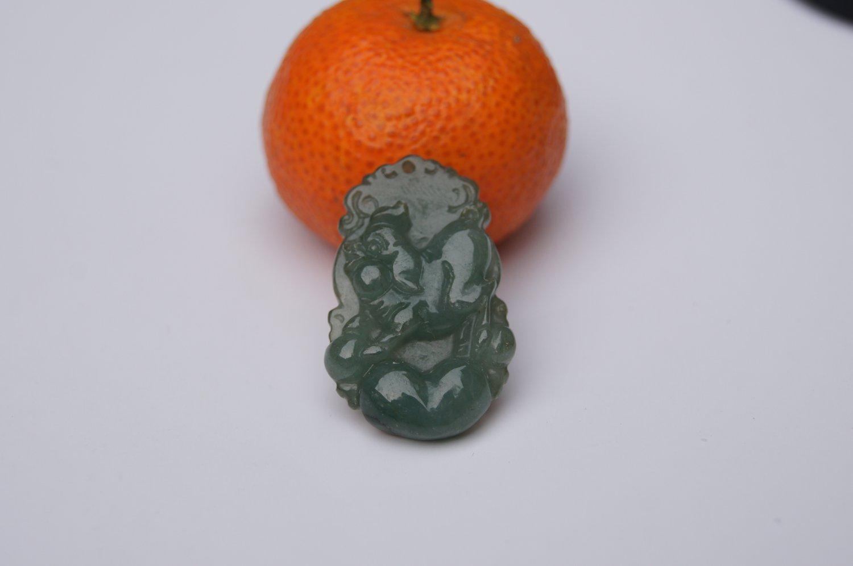 Natural dark green jade, hand-carved zodiac - pig pendant.Amulet