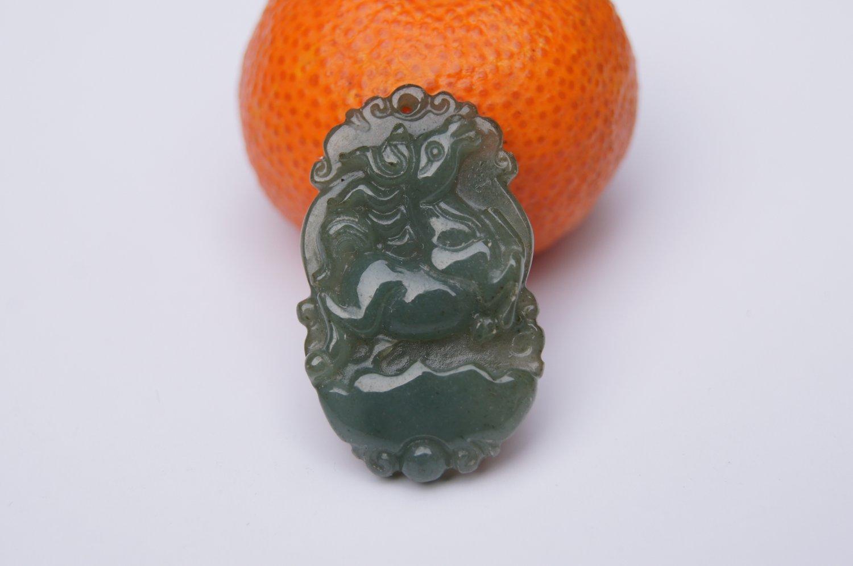 Natural dark green jade, Zodiac - Jade horse pendant. Necklace.