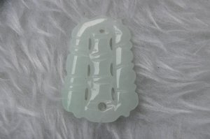 Natural white jade, hand-carved bamboo (steadily) pendant. Necklace.