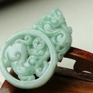 Natural white color of jade, double-sided engraving. The money Pixiu.Pendant. Necklace.