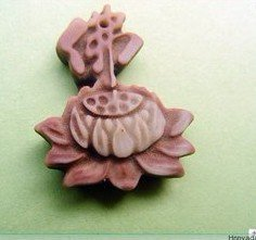 .Natural purple robe jade pendant, hand-carved; Lotus Buddha characters. Necklace.