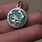 Park-shaped green jade inlaid Tibet silver dragon pendant.Amulet necklace.