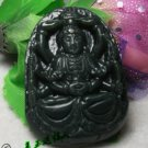 Natural dark green jade amulets (Buddhist goddess) Goddess of Mercy. · Pendant necklace.