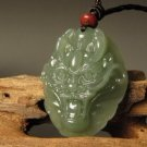 Hetian blue jade amulet pendant necklace, hand-carved head (Dragon), 2012 is the Year of the Dragon.