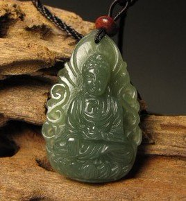 Natural and Tian Qingyu, hand-carved amulet (Amitabha). · Pendant Necklace