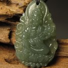 Natural hetian jade, talisman. Samantabhadra bodhisattva. Pendant necklace
