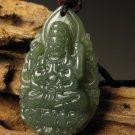Natural and Tian Qingyu, carved amulet. (Avalokitesvara) Buddha. Pendant Necklace