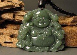 And Tian Qingyu stone, carved amulet pendant necklace meditating Buddha (Maitreya).