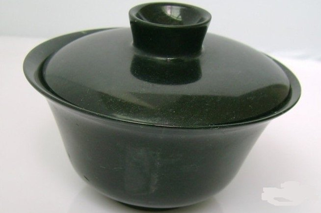 Natural dark green jade, hand carved. Cup cup, practical health care cup.(Decorations).