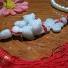 Natural white jade pendant, (double Pixiu + auspicious knot) manual cleverly weaving, car hanging.