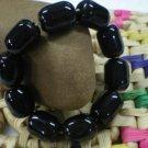 .Natural ink jade, hand-carved, rubber bands strung together 10 cylindrical beads (bracelets)