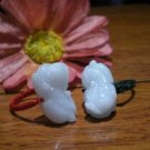 Natural white jade rings, hand-carved, brave, hand-woven rings, charm (pair price)