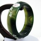 The sticky flowers natural agate bracelet bracelet widened thickened dark green.
