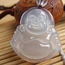 Natural white onyx. Hand-carved amulet.(Laughing Buddha). Pendant Necklace