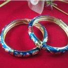 Retro blue flower cloisonne bracelet. The drip irrigation alloy. Ladies choice.