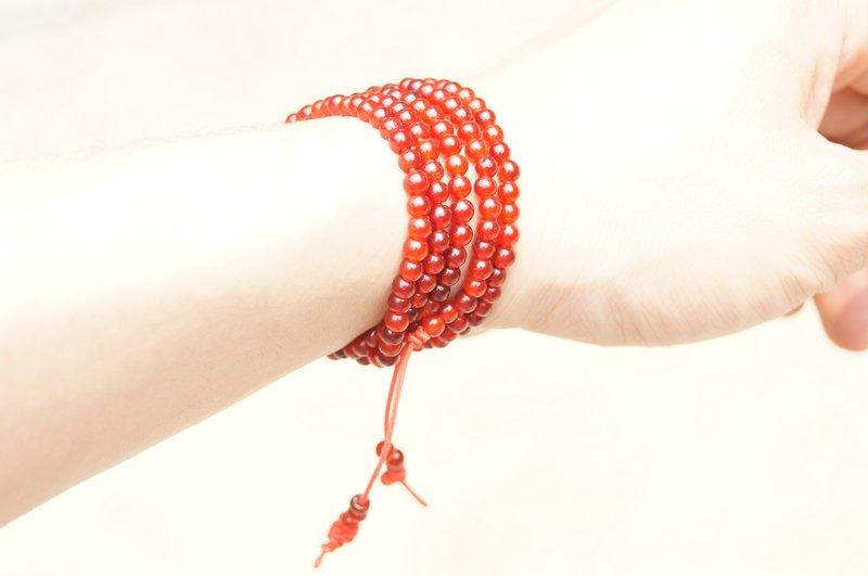 Tibetan Buddhist prayer beads, yoga meditation, 216 beads, red jade beads, 4 mm.Bracelet.