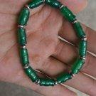 Green Agate bamboo + Tibetan silver lanterns, rubber band strung bracelet. .