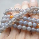 Tibetan buddhist rosary bracelet necklace, natural light grey agate, 8 mm beads.