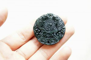 Hand-carved natural deep green jade Pisces peace wealth. Necklace pendant