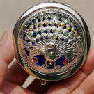 Hollow alloy peacock / inlaid precious stones, vintage vanity mirror
