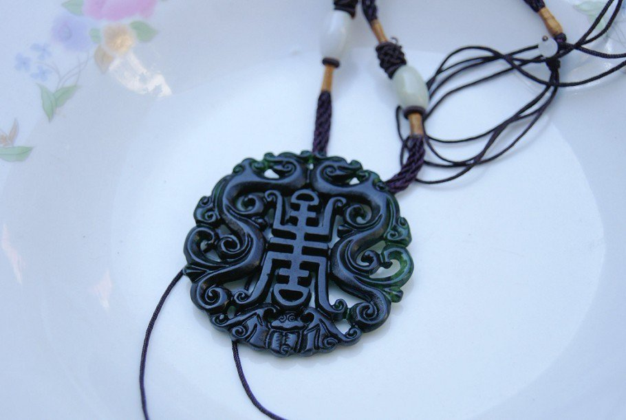 Natural black green jade, Ssangyong send wish (longevity) (amulet). Necklace pendant