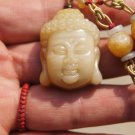 Hand-carved natural jade pendants, amulets, Buddha head pendant necklace. 30x22x12mm