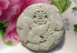 Natural white jade. Hand-carved Phoenix (Hi word) lucky jade necklace