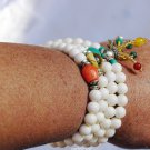 White Tridacna prayer beads, necklaces, 108 + coral beads + turquoise beads + crystal beads