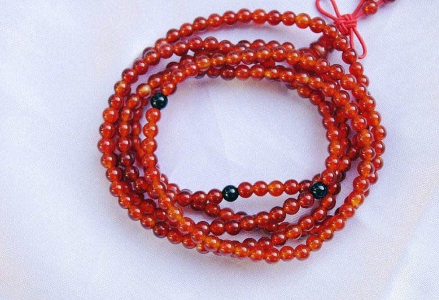 Tibetan Buddhist prayer beads, natural red agate bracelet, 4 mm 216, meditation, yoga beads