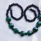 Hand-carved natural agate necklace, round green agate 8x15x8mm + black beads combination.