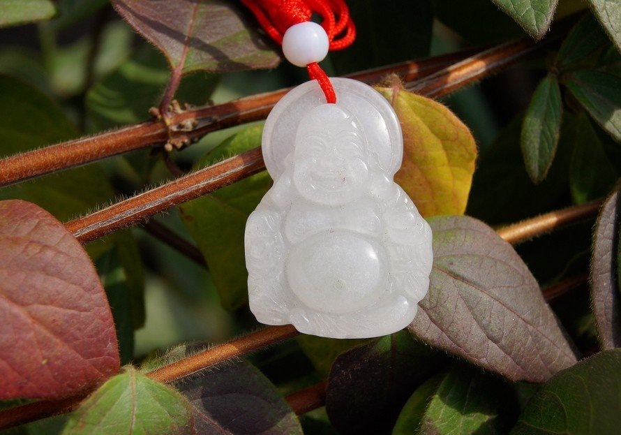Natural white jade, hand-carved amulets, Buddha pendant necklace 35x24x9mm