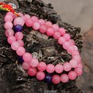 Pink jade bracelet, Buddhist prayer beads, 10 mm 52 +1 teeth, meditation, yoga mala rosary