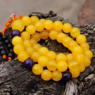 Buddhist prayer beads, 10 mm, 52 +1 teeth, yellow jade bracelet, meditation, yoga, prayer beads