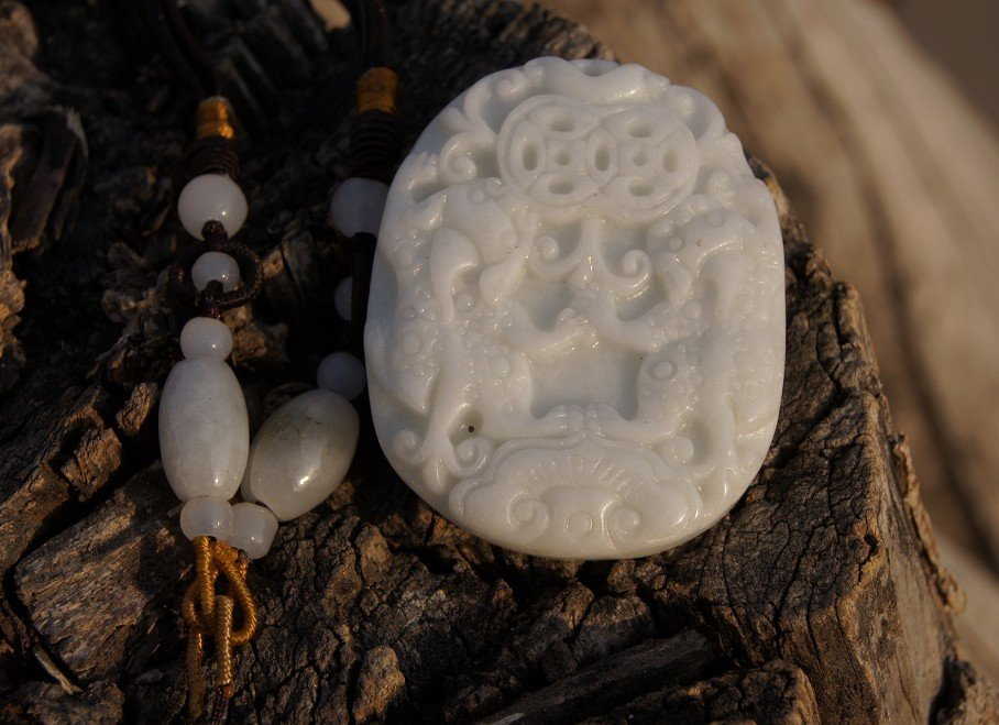 Hand-carved, natural white jade, double brave to send money, the necklace pendants 46x37x7.5 mm