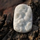 Natural white jade, peanut ruyi dragon (business boom) vintage necklace pendant,