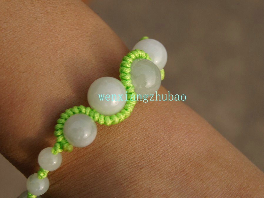 Hand-woven serpentine bracelet, 14 mm 1,12 mm grain diameter of 10 mm 2,8 mm 13, white jade beads.