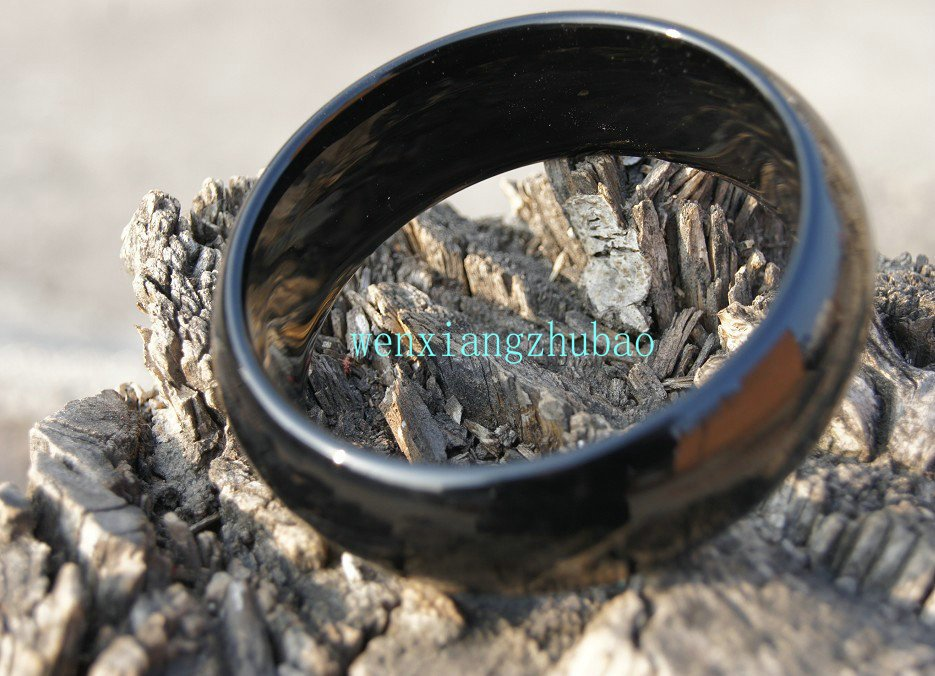 Black agate bracelet, men preferred diameter of about 62 mm, a width of 24 mm, 9 mm thick