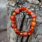 Natural red agate. Handmade, bead + Duoleng the bracelet, 8x9mm 10 Li, rubber band strung.