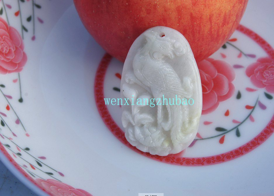 Natural white jade, peony the phoenix (Danfengchaoyang) necklace pendants 50x32x5 mm.