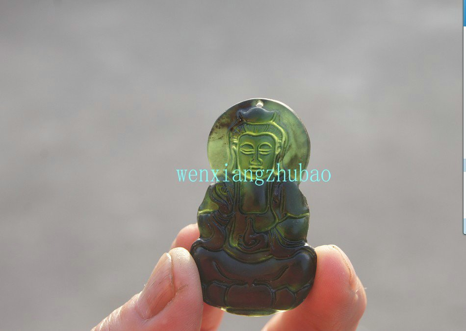 Natural dark green jade Guanyin Bodhisattva amulet. The necklace pendants 48x28x5.5 mm