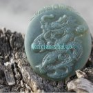 Natural Hetian the Cyan jade, amulets. Dragon playing with a pearl necklace pendant 49x33x3 mm