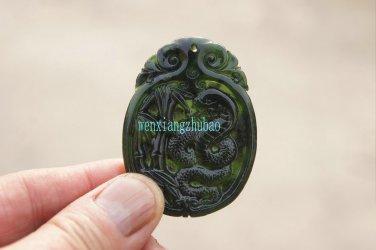 Handmade, dark green jade the silver snake drama bamboo. Necklace pendant 48x37x5mm