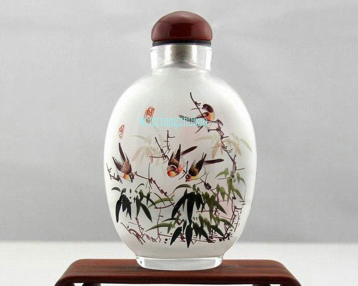To snuff bottle imitate ancient within Mei Flower bamboo double bird, hand pieces, collectibles .