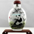 Snuff bottle inner imitation ancient painting panda bamboo, hand pieces, collectibles. 9x6cm