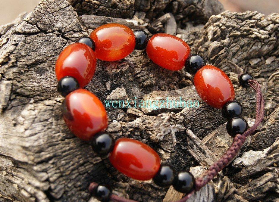 Red (agate) 6 + drum-shaped beads beads beads hand-woven (bracelets).
