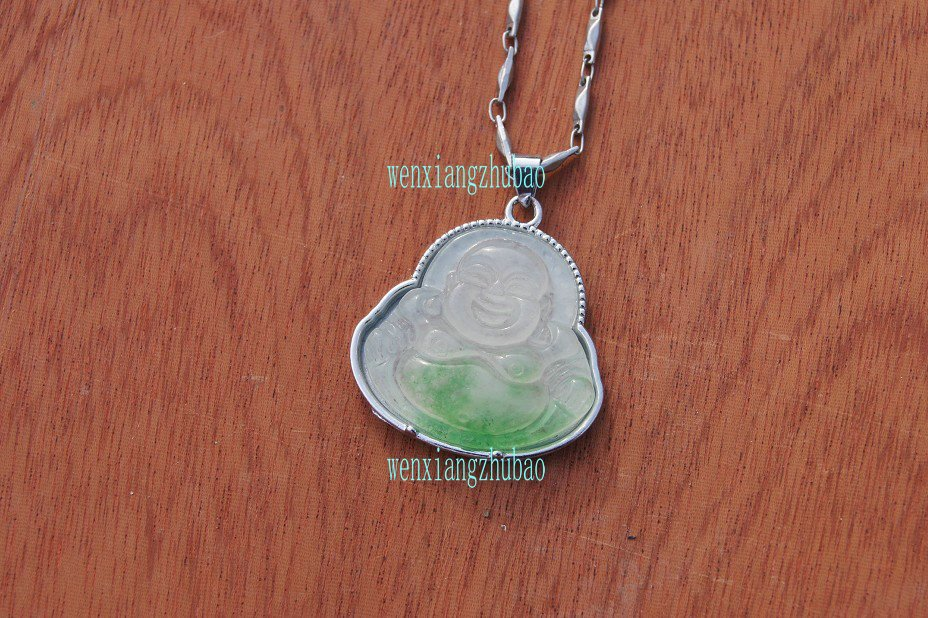 Antique alloy inlaid the floating green jade amulet, amulets, laughing Buddha. Necklace pendant