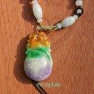 Sided engraving, purple, yellow, green, jade rabbit smug, necklaces, pendants; 43 x23x9mm